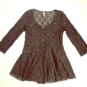 Free People Black Lace Babydoll Top